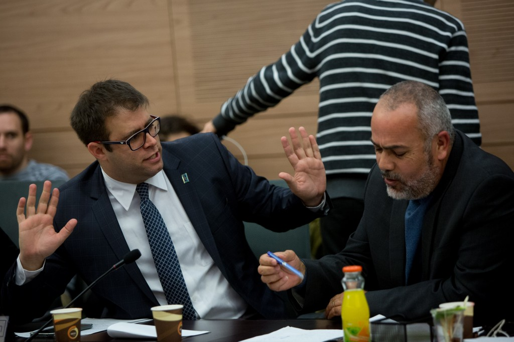 MK Oren Hazan at a Constitution, Law and Justice Committee meeting in the Knesset on February 23, 2016. (Yonatan Sindel/Flash90)