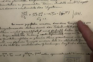 The original historical documents related to Albert Einstein's prediction of the existence of gravitational waves are seen at the Hebrew University in Yerushalayim on Thursday. (AP Photo/Sebastian Scheiner)