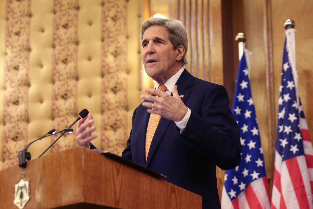 Secretary of State John Kerry at a press conference in Amman, Jordan, on Sunday. (AP Photo/Raad Adayleh)