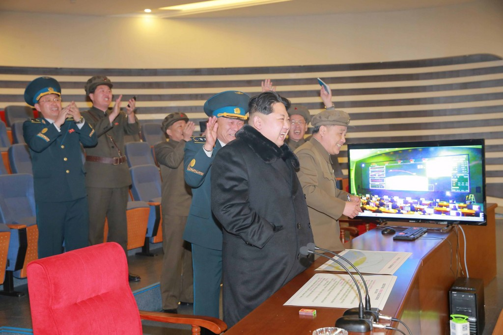 North Korean leader Kim Jong Un reacts as he watches a long range rocket launch in this undated photo released by North Korea's Korean Central News Agency (KCNA) in Pyongyang February 7, 2016. REUTERS/KCNA ATTENTION EDITORS - THIS PICTURE WAS PROVIDED BY A THIRD PARTY. REUTERS IS UNABLE TO INDEPENDENTLY VERIFY THE AUTHENTICITY, CONTENT, LOCATION OR DATE OF THIS IMAGE. FOR EDITORIAL USE ONLY. NOT FOR SALE FOR MARKETING OR ADVERTISING CAMPAIGNS. THIS PICTURE IS DISTRIBUTED EXACTLY AS RECEIVED BY REUTERS, AS A SERVICE TO CLIENTS. NO THIRD PARTY SALES. SOUTH KOREA OUT. NO COMMERCIAL OR EDITORIAL SALES IN SOUTH KOREA