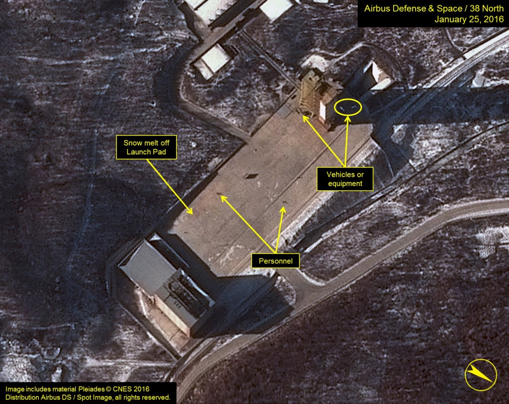 """Airbus Defense & Space and 38 North satellite imagery dated January 25, 2016 shows three objects at the base of the gantry tower that are either vehicles or equipment at Sohae Satellite Launching Station in North Korea in this image released on January 28, 2016. The United States has seen increased activity around a North Korean site suggesting preparations for a possible space launch in the near future, U.S. officials told Reuters on Thursday, amid growing concerns over Pyongyang's weapons program. REUTERS/Airbus Defense & Space and 38 North/Handout via Reuters """"Includes material Pleiades © CNES 2016 Distribution Airbus DS / Spot Image, all rights reserved."""" Images may not be altered ATTENTION EDITORS - THIS PICTURE WAS PROVIDED BY A THIRD PARTY. REUTERS IS UNABLE TO INDEPENDENTLY VERIFY THE AUTHENTICITY, CONTENT, LOCATION OR DATE OF THIS IMAGE. EDITORIAL USE ONLY. NOT FOR SALE FOR MARKETING OR ADVERTISING CAMPAIGNS. NO RESALES. NO ARCHIVE. THIS PICTURE IS DISTRIBUTED EXACTLY AS RECEIVED BY REUTERS, AS A SERVICE TO CLIENTS. MANDATORY CREDIT"""