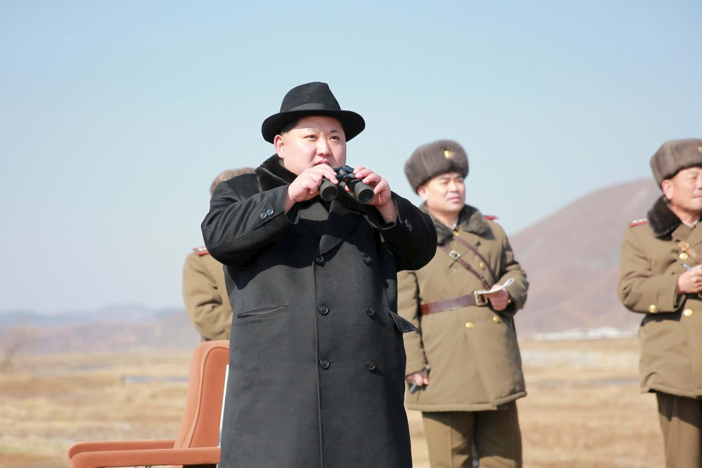 North Korean leader Kim Jong Un inspects a flight drill of fighter pilots from the Korean People's Army's (KPA) Air and Anti-Air Force, in this undated photo released by North Korea's Korean Central News Agency (KCNA) in Pyongyang on February 21, 2016. REUTERS/KCNA ATTENTION EDITORS - THIS PICTURE WAS PROVIDED BY A THIRD PARTY. REUTERS IS UNABLE TO INDEPENDENTLY VERIFY THE AUTHENTICITY, CONTENT, LOCATION OR DATE OF THIS IMAGE. FOR EDITORIAL USE ONLY. NOT FOR SALE FOR MARKETING OR ADVERTISING CAMPAIGNS. THIS PICTURE IS DISTRIBUTED EXACTLY AS RECEIVED BY REUTERS, AS A SERVICE TO CLIENTS. NO THIRD PARTY SALES. SOUTH KOREA OUT. NO COMMERCIAL OR EDITORIAL SALES IN SOUTH KOREA.