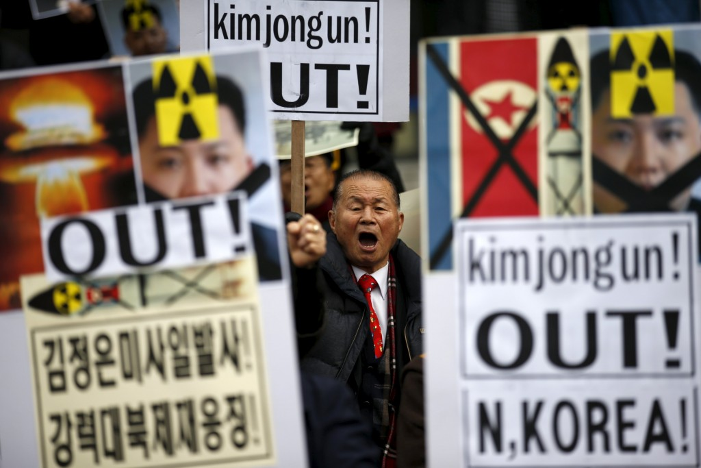 A man chants slogans during an anti-North Korea rally in central Seoul, South Korea, February 11, 2016. REUTERS/Kim Hong-Ji TPX IMAGES OF THE DAY