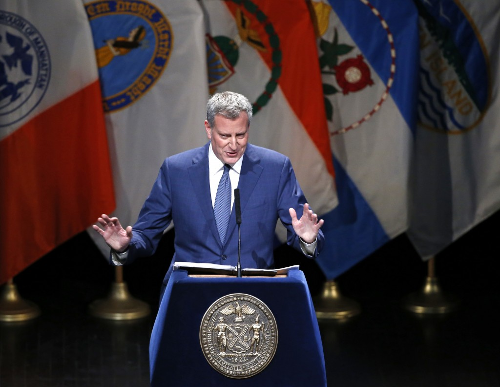 New York Mayor Bill de Blasio gestures as he speaks to attendees during his State of the City address, Thursday, Feb. 4, 2016, at Lehman College in the Bronx borough of New York. (AP Photo/Kathy Willens)