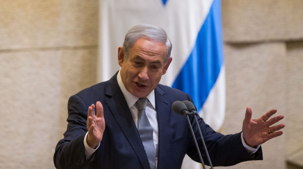 Israeli Prime Minister Binyamin Netanyahu addresses the Knesset on Wednesday. (Yonatan Sindel/Flash90)