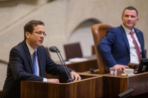 Opposition leader Isaac Herzog addresses the Knesset on Wednesday. (Yonatan Sindel/Flash90)