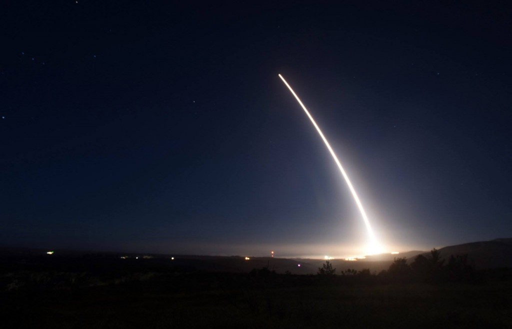 FILE - In this Saturday, Feb. 20, 2016 file photo provided by U.S. Air Force, an unarmed Minuteman III intercontinental ballistic missile launches during an operational test at Vandenberg Air Force Base, Calif. Like a giant pen stroke in the sky, an unarmed Minuteman 3 nuclear missile roared out of its underground bunker on the California coastline Friday, Feb. 26, 2016, and soared over the Pacific, inscribing the signature of American power amid growing worry about North Korea's pursuit of nuclear weapons capable of reaching U.S. soil. When it comes to deterring an attack by North Korea or other potential adversaries, the missile is the message. (U.S. Air Force via AP, File)