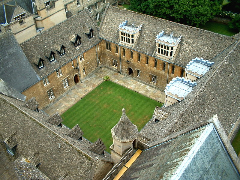 Aerial view of Oxford University's Merton College (DWR)
