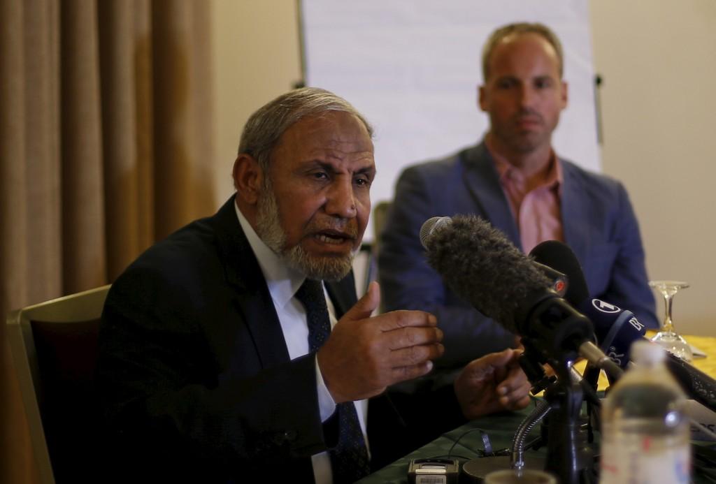 Senior Hamas leader Mahmoud Zahar speaks during a meeting with Foreign Press Association in Gaza City February 24, 2016. REUTERS/Suhaib Salem