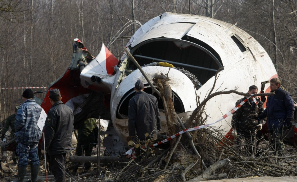 The wreckage of the Polish presidential plane is seen just outside the Smolensk airport, western Russia, on April 14, 2010. (AP Photo/Mikhail Metzel)