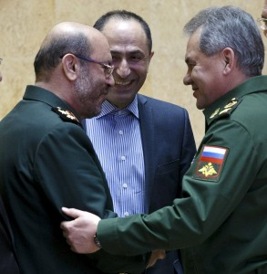 Russian Defense Minister Sergei Shoigu (R) and his Iranian counterpart Hossein Dehghan (L) shake hands during their meeting in Moscow, Russia, February 16, 2016 in this handout provided by Russian Defence Ministry. REUTERS/Vadim Savitsky/Russian Defence Ministry/Handout via Reuters ATTENTION EDITORS - THIS PICTURE WAS PROVIDED BY A THIRD PARTY. REUTERS IS UNABLE TO INDEPENDENTLY VERIFY THE AUTHENTICITY, CONTENT, LOCATION OR DATE OF THIS IMAGE. FOR EDITORIAL USE ONLY. NOT FOR SALE FOR MARKETING OR ADVERTISING CAMPAIGNS. THIS PICTURE IS DISTRIBUTED EXACTLY AS RECEIVED BY REUTERS, AS A SERVICE TO CLIENTS. NO SALES. NO ARCHIVES.