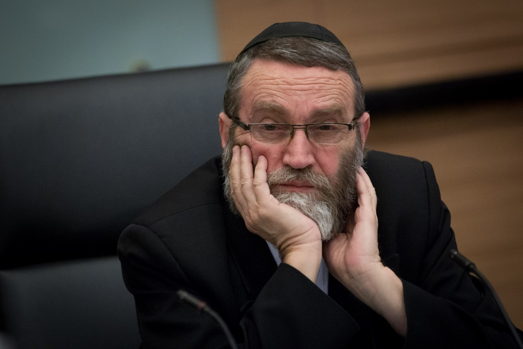 Rabbi Moshe Gafni, Chairman of the Finance Committee, presiding over a committee meeting at the Knesset. (Miriam Alster/Flash90)