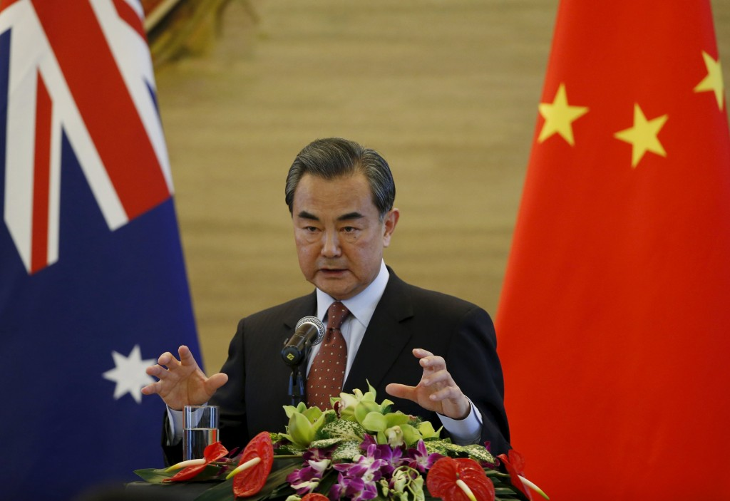 Chinese Foreign Minister Wang Yi speaks at a joint news conference with Australian Foreign Minister Julie Bishop at the Ministry of Foreign Affairs in Beijing, China, February 17, 2016. REUTERS/Kim Kyung-Hoon TPX IMAGES OF THE DAY