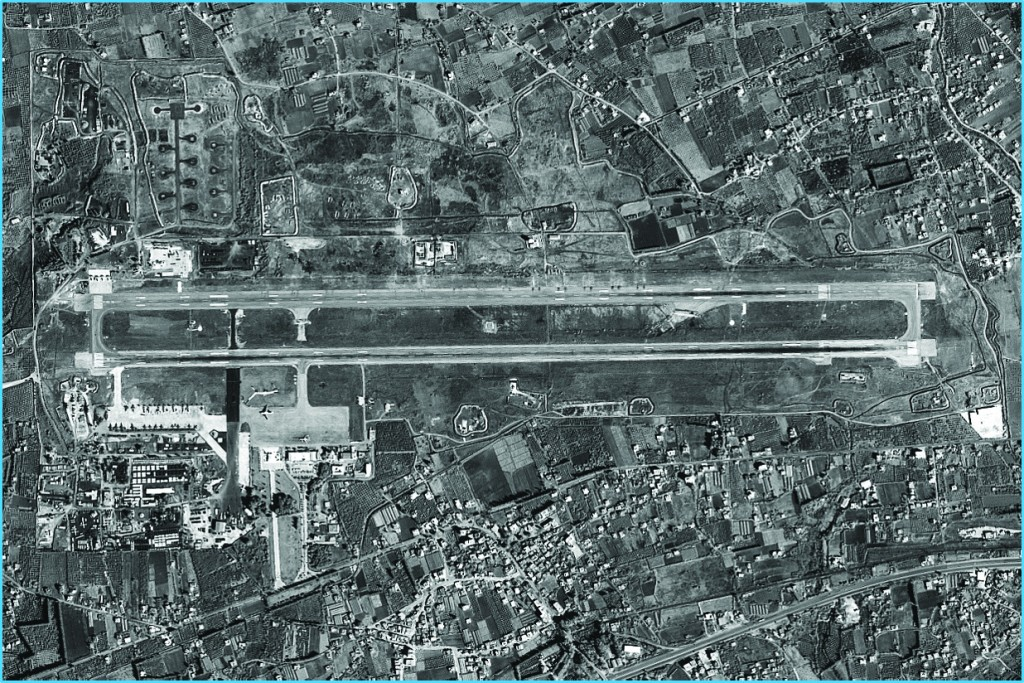 Russian planes at the Latakia air base, as photographed by Israel's ImageSat International satellite. (Courtesy of ISI)