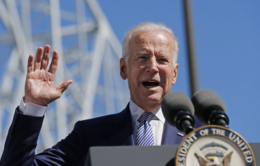 FILE - In this Feb. 17, 2016, file photo, Vice President Joe Biden speaks after touring the Port of New Orleans to commemorate the seventh anniversary of the American Recovery and Reinvestment Act in New Orleans. Biden, in a radio interview airing Thursday, Feb. 18, that President Obama is looking to nominate a Supreme Court candidate who has enjoyed past Republican support, offering some of the first indications of the president's criteria in replacing the late Justice Antonin Scalia. (AP Photo/Gerald Herbert, File)