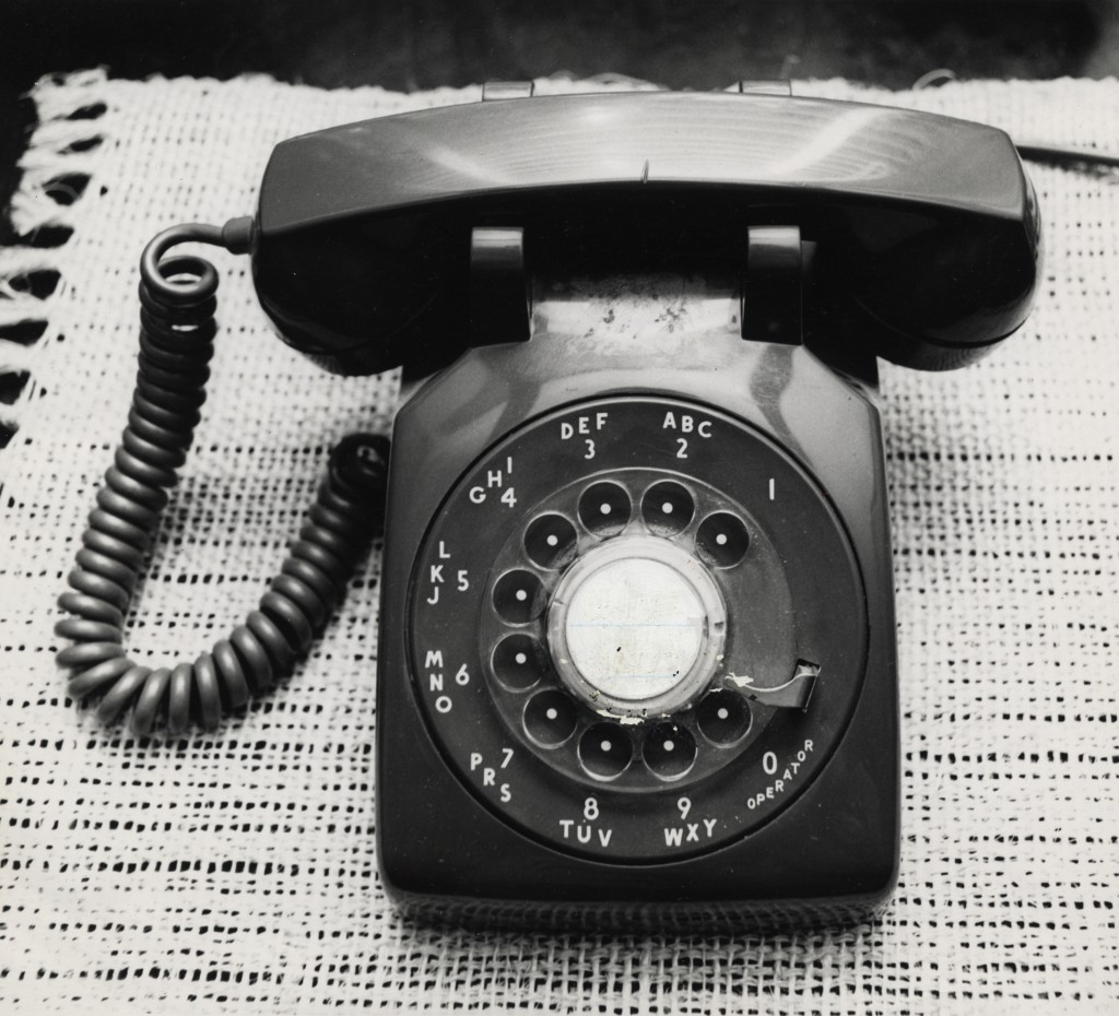 A  rotary dial telephone.  (Dan Hardy/Houston Chronicle via AP/FILE)