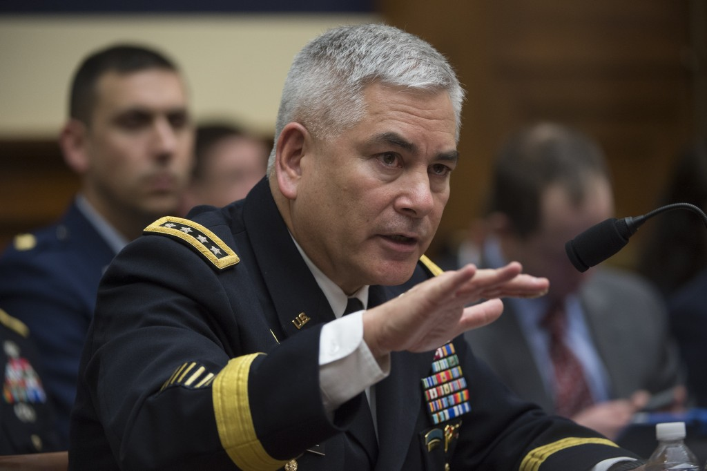 Army Gen. John Campbell, commander, Operation Resolute Support U.S. Forces, testifying on Capitol Hill on Tuesday. (AP Photo/Molly Riley)