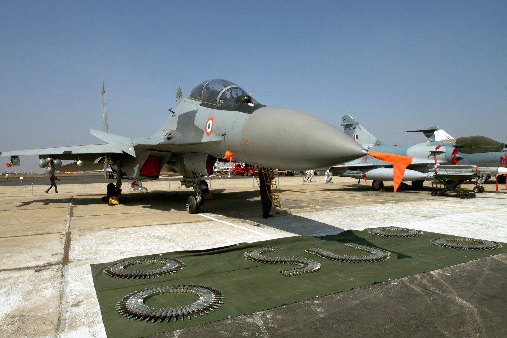 A Russian made Indian Air Force Sukhoi-30 fighter aircraft is seen on display at at Yelahanka air base on the outskirts of Bangalore, India. FILE - In this Feb. 8, 20017 file photoThe Obama administration said Thursday, Feb. 18, 2016, that a proposed Russian sale of fighter jets to Iran would violate a U.N. arms embargo on Tehran, setting up another standoff related to last year's nuclear negotiations. A State Department spokesman said transferring the Sukhoi-30 jets, comparable to American F-15E fighter bombers, requires the U.N. Security Council's approval. (AP Photo/Aijaz Rahi, File)
