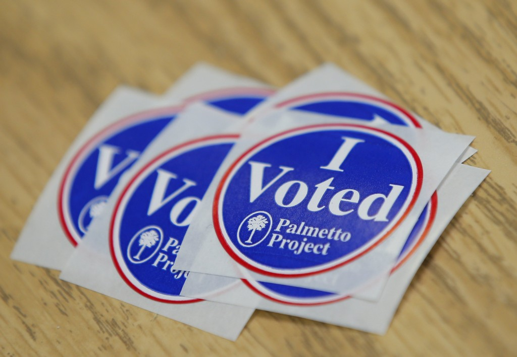 'I Voted' stickers are seen on a table during the U.S. Democratic presidential primary election in Kershaw, South Carolina February 27, 2016. REUTERS/Chris Keane