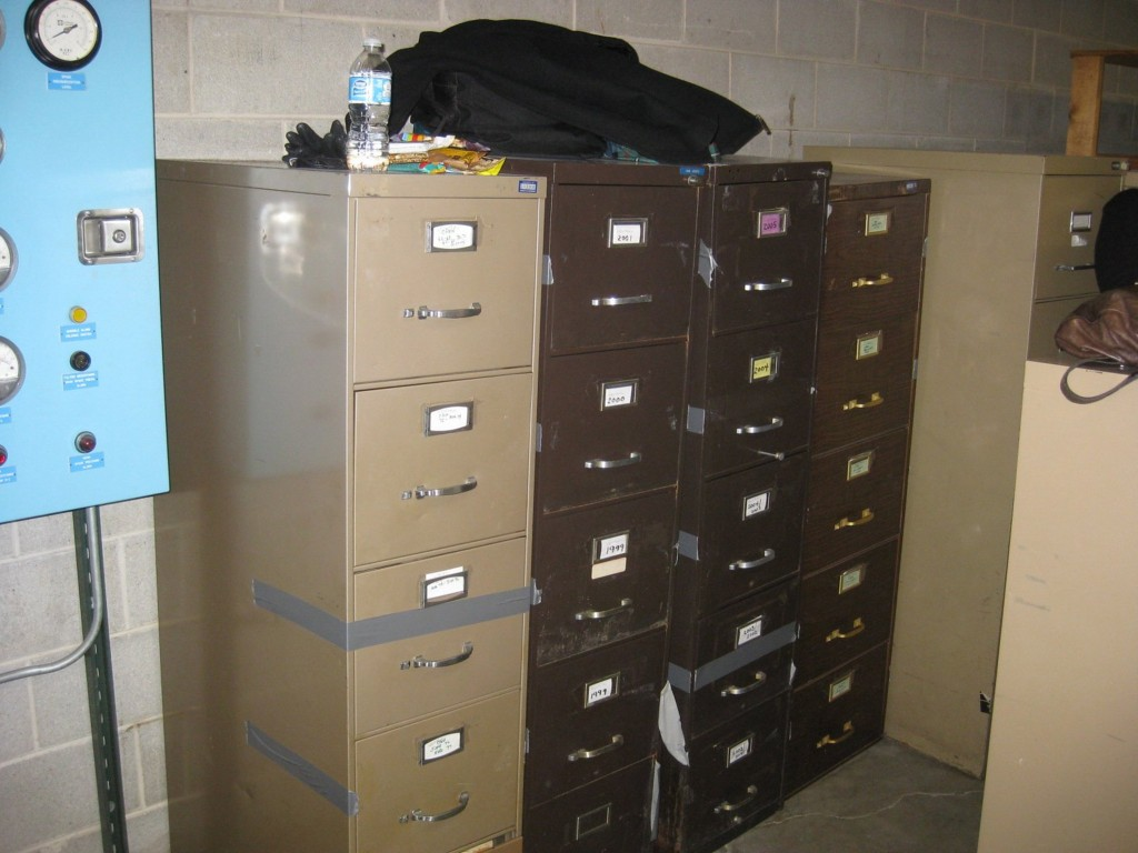 "Filing cabinets in the basement of the Chicago Police Department station at 51st Street and Wentworth Avenue holding the secret ""street"" files. (Candace Gorman)"