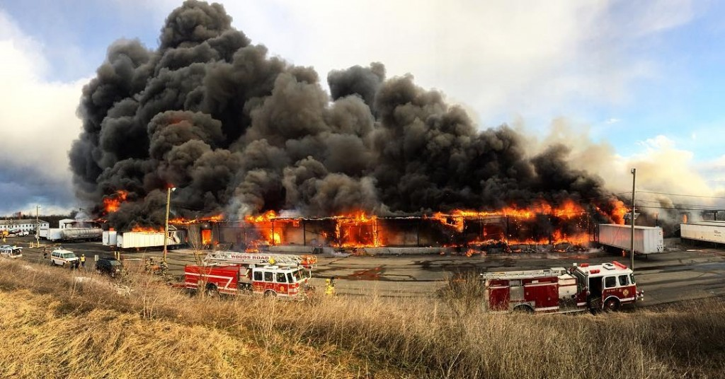 The fire at an industrial park in Hillsborough, N.J., on Thursday. (Nick Bowling via AP)