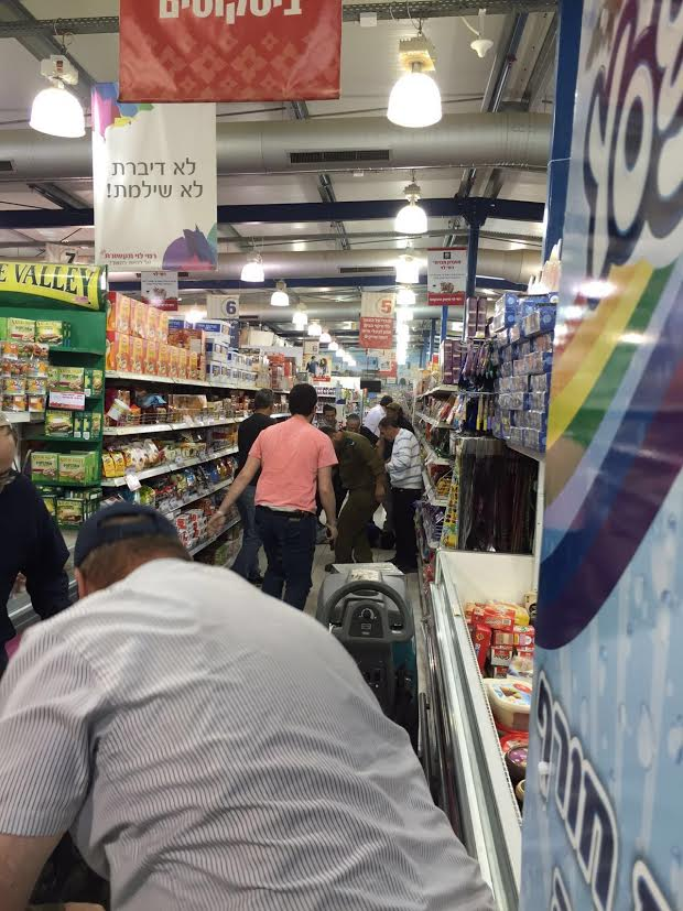 The scene in the supermarket after the terror attack on Thursday. (Uziel Vatik)