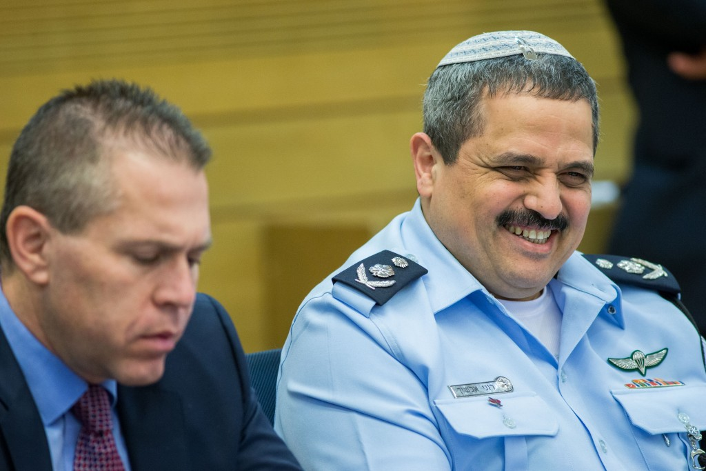Minister of Public Security Gilad Erdan seen with Chief of Police Roni Alsheikh (R) as they attend an Internal Affairs committe in the Israeli parliament on February 9, 2016. Photo by Yonatan Sindel/Flash90