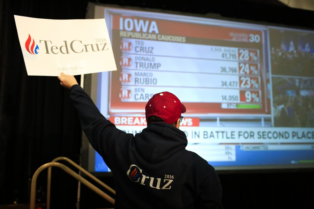 A supporter celebrates during the Election Night Watch Party with Ted Cruz at Iowa State Fair grounds in Des Moines, Iowa on Monday, February 1, 2016. (Cassi Alexandra/The Washington Post)