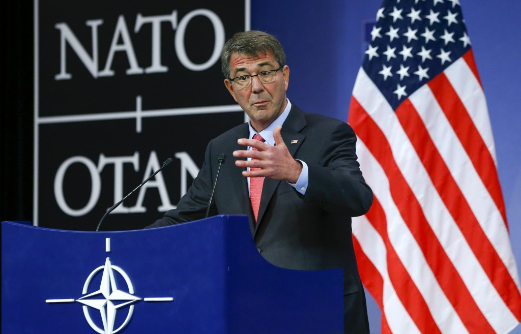 U.S. Secretary of Defense Ash Carter speaks at a news conference during a NATO Defence Ministers meeting at the Alliance's headquarters in Brussels, February 11, 2016. U.S. Secretary of Defense Carter convened the first ever gathering of the defense ministers of the Global Coalition Against ISIL/Daesh at NATO headquarters on Thursday. REUTERS/Yves Herman