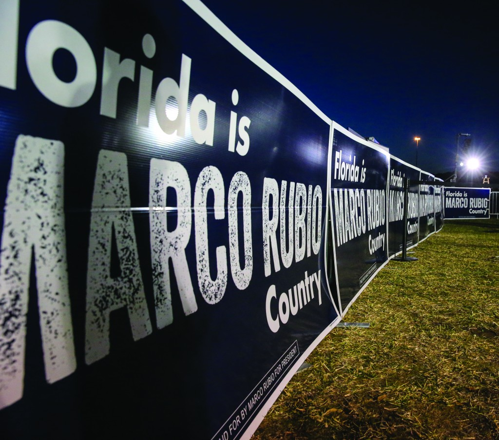 Campaign signs at a rally for Republican presidential candidate, Sen. Marco Rubio, R-Fla., in Ponte Vedra Beach, Fla., Tuesday, March 8, 2016. (AP Photo/Gary McCullough)