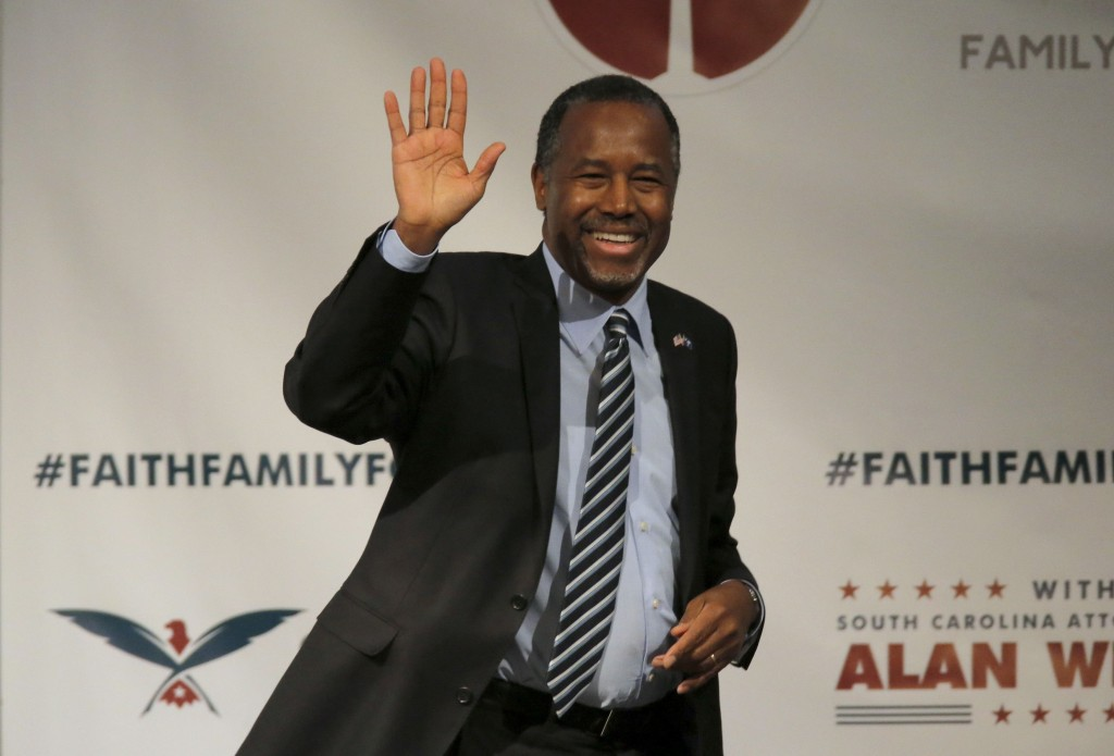 """Ben Carson - seen here at the Faith and Family Presidential Forum in South Carolina on February 12 - said on Wednesday that he does not see a """"political path forward"""" in his 2016 bid for the White House. (Reuters/Chris Keane/File)"""