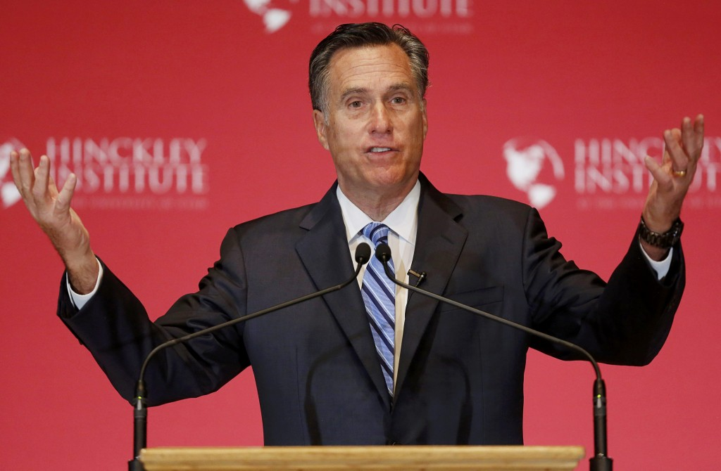 Former Republican U.S. presidential nominee Mitt Romney speaking at the Hinckley Institute of Politics at the University of Utah in Salt Lake City, on Thursday. (Reuters/Jim Urquhart)