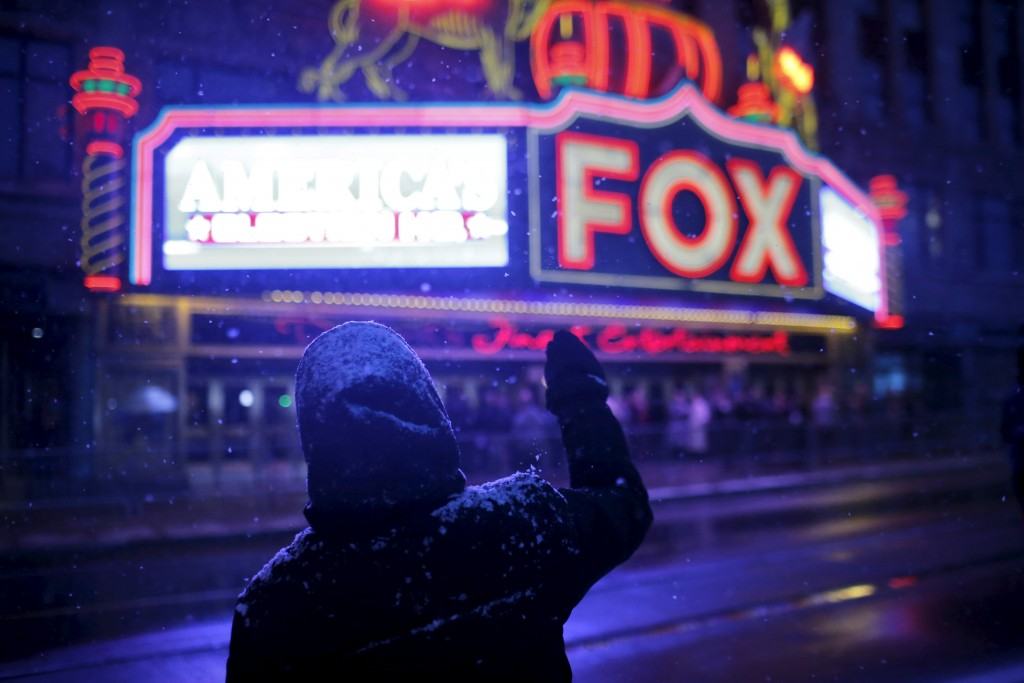A protester shouts slogans outside the Republican party presidential debate site in Detroit, Michigan. (Carlos Barria/Reuters)