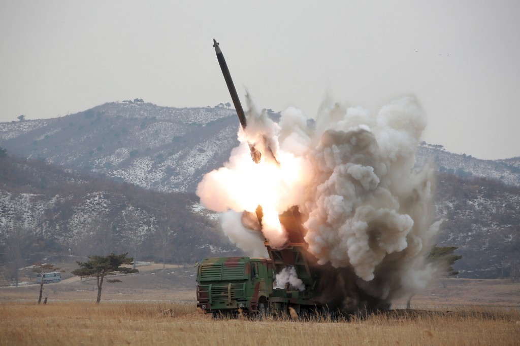 A new multiple launch rocket system is test fired in this undated file photo released by North Korea's Korean Central News Agency (KCNA) in Pyongyang (REUTERS/KCNA/Files)