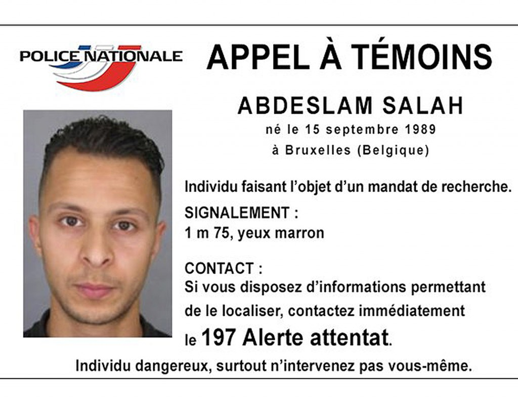 Wanted poster for Salah Abdeslam released by French police in November, on Twitter. (Reuters/Police Nationale/Handout via Reuters)