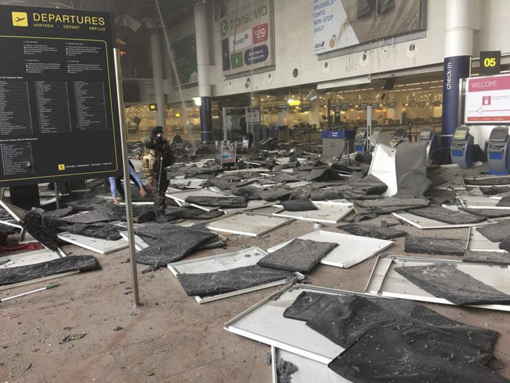 The aftermath of the bombings at Zaventem airport. (Reuters/Jef Versele/Handout via Reuters)