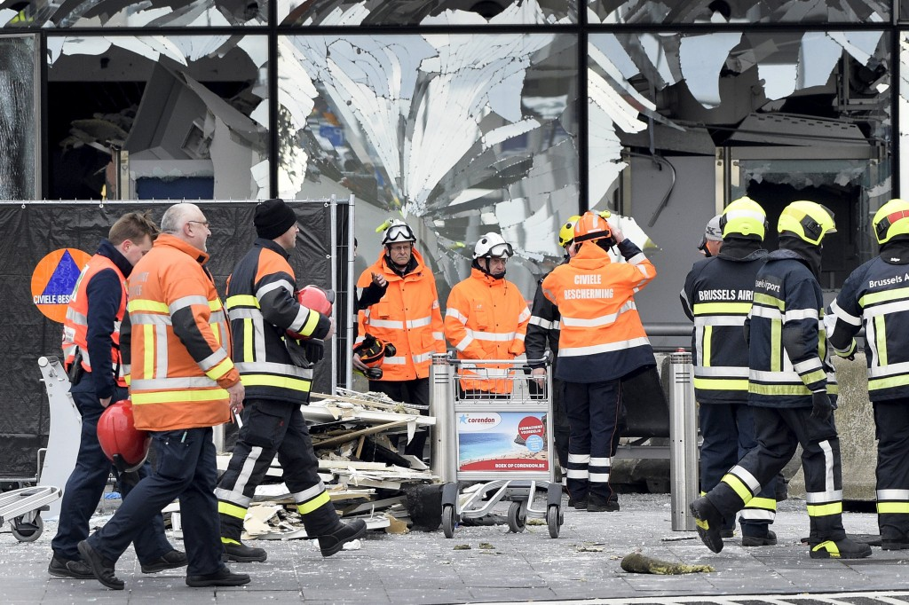Broken windows of the terminal at Brussels national airport on Wednesday. (Reuters/Yorick Jansens/Pool)