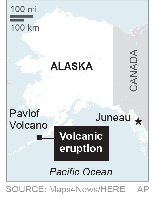 A map shows the volcano eruption in Alaska. (AP)