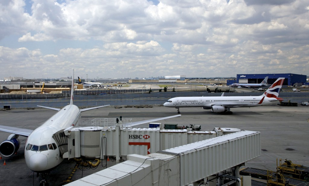An airplane taxis at JFK Airport. (AP Photo/Jin Lee)