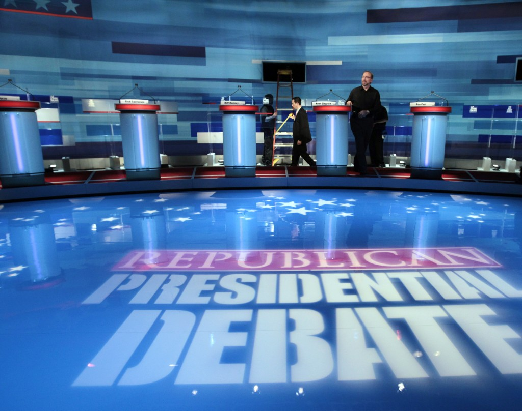 Preparations for the FOX News/Wall Street Journal GOP Presidential Debate. (AP Photo/Charles Dharapak/FILE)