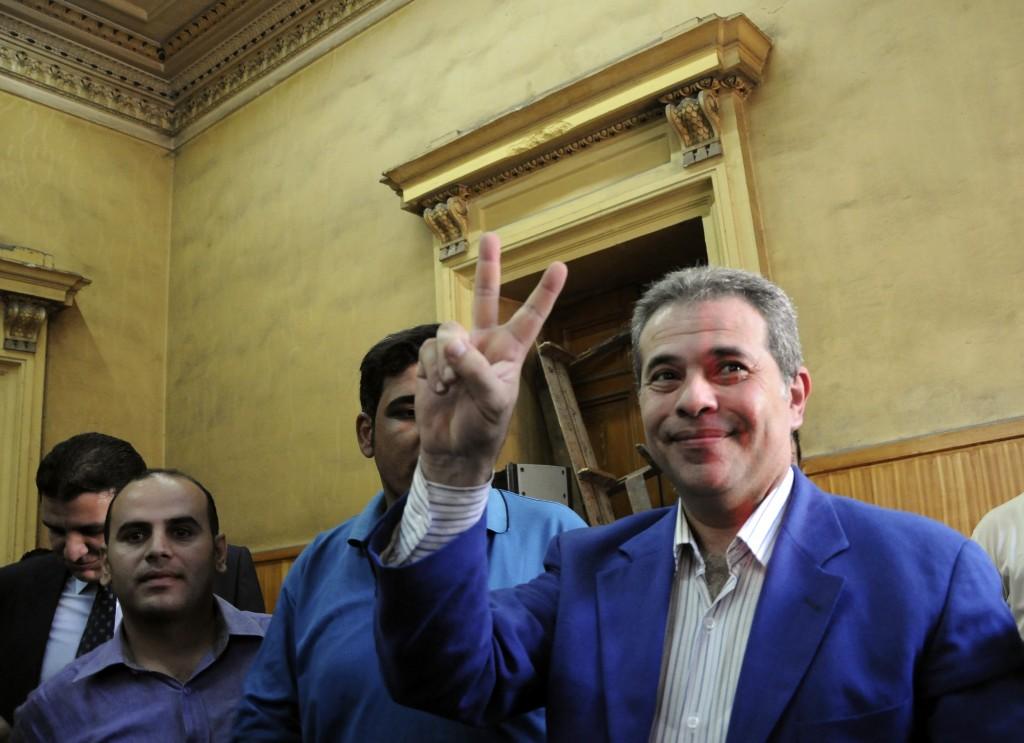 Tawfiq Okasha, seen here in a 2012 file photo. (AP Photo/Mohammed Assad, File)