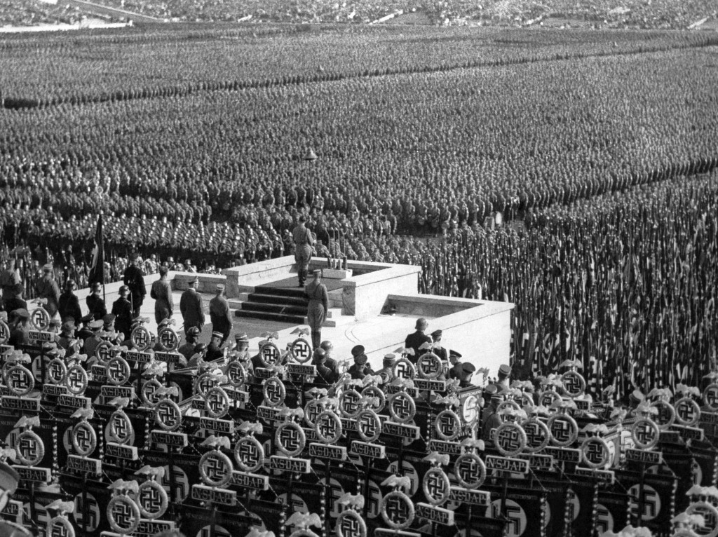 Over 100,000 stormtroopers at a Nazi rally in the Leopold Arena in Nuremberg, on Sept. 15, 1935, listen as German Chancellor Adolf Hitler speaks. (AP Photo)