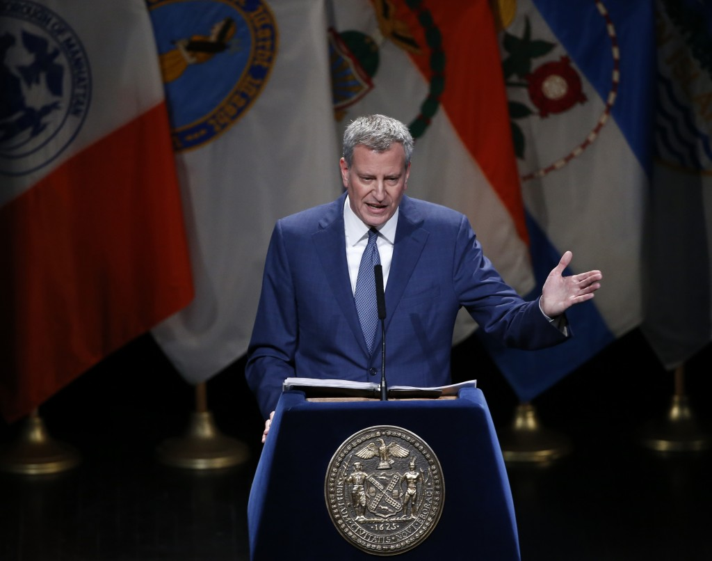 New York Mayor Bill de Blasio, shown here delivering his State of the City address last month. (AP Photo/Kathy Willens)