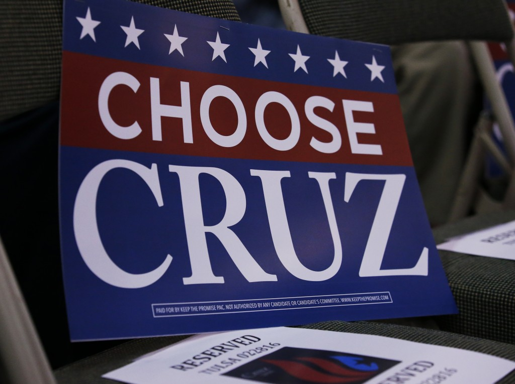 A campaign sign is pictured on a chair during a rally for Republican presidential candidate, Sen. Ted Cruz (R-Texas), in Tulsa, Okla. (AP Photo/Sue Ogrocki)