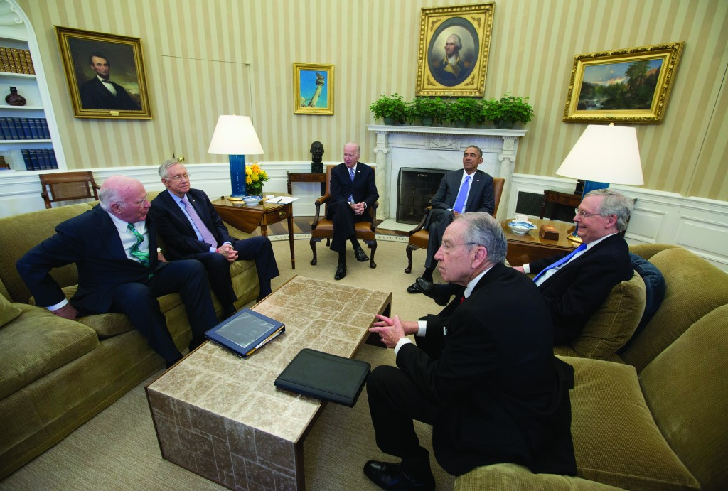 President Barack Obama meets with, from left, the Senate Judiciary Committee's ranking member Sen. Patrick Leahy (D-Vt.), Senate Minority Leader Sen. Harry Reid of Nev., Vice President Joe Biden, [the president,] Senate Majority Leader Mitch McConnell of Ky., and Senate Judiciary Committee Chairman Sen. Chuck Grassley (R-Iowa), in the Oval Office of the White House in Washington, Tuesday, to discuss the vacancy in the Supreme Court. (AP Photo/Carolyn Kaster)