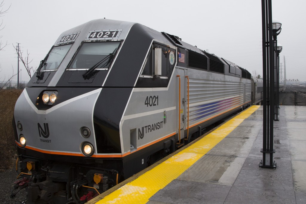 A New Jersey Transit train pulls into the station, at the Frank R. Lautenberg Secaucus Junction Station in Secaucus, N.J. (AP Photo/John Minchillo)