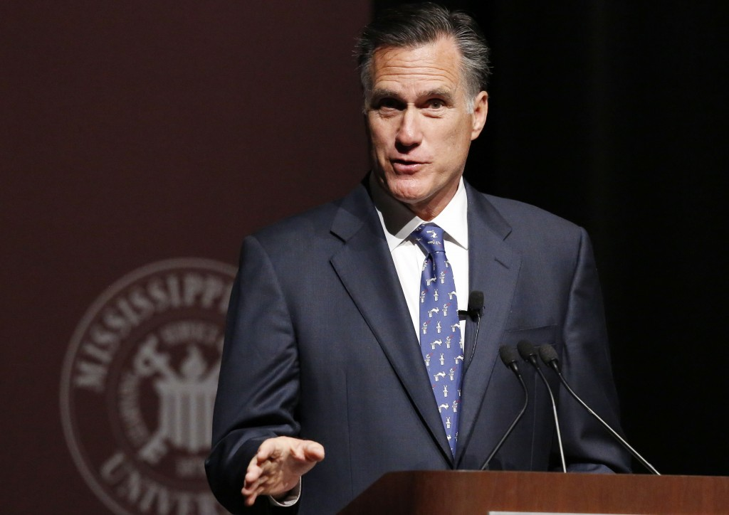 Former GOP presidential candidate Mitt Romney, seen here speaking at Mississippi State University in January 2015. (AP Photo/Rogelio V. Solis)