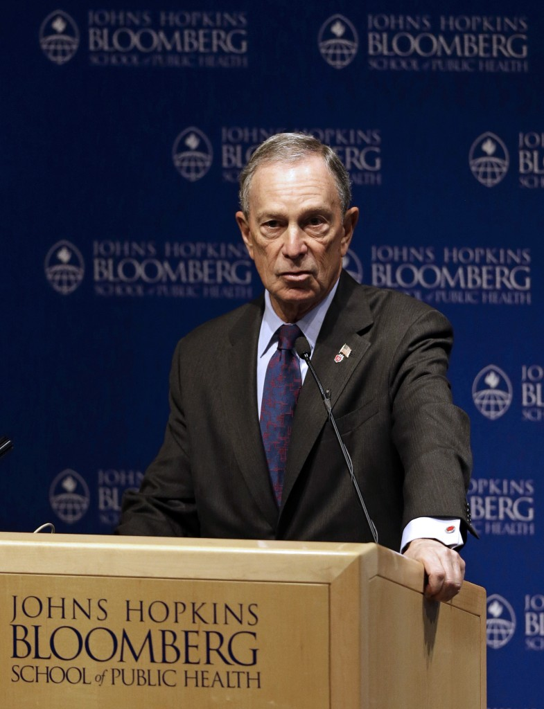New York City Mayor Michael Bloomberg speaks at a summit at Johns Hopkins Bloomberg School of Public Health in Baltimore, Monday, Jan. 14, 2013. (AP Photo/Patrick Semansky)