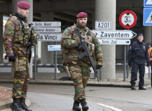 Belgian troops man a roadblock near Brussels' Zaventem airport following Tuesdays' bomb attacks in Brussels, Belgium, March 23, 2016. REUTERS/Christian Hartmann