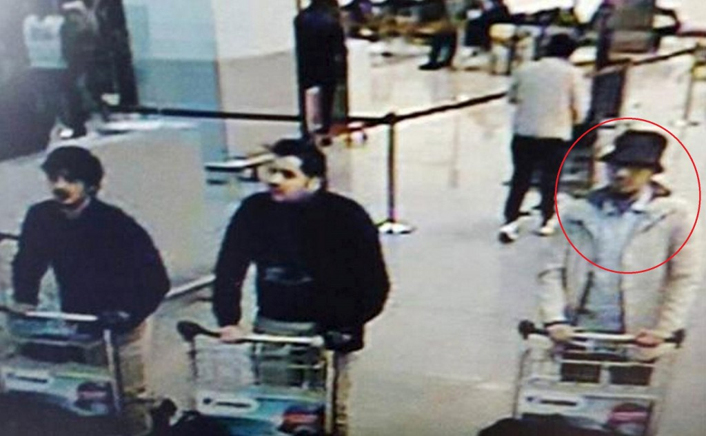 "This CCTV image from the Brussels Airport surveillance cameras made available by Belgian Police, shows what officials believe may be suspects in the Brussels airport attack on March 22, 2016. The Belgian state prosecutor said in a press conference on Tuesday, that a photograph of three male suspects was taken at Zaventem. ""Two of them seem to have committed suicide attacks. The third, wearing a light-coloured jacket and a hat, is actively being sought,"" the prosecutor said. REUTERS/CCTV/Handout via ReutersATTENTION EDITORS - THIS PICTURE WAS PROVIDED BY A THIRD PARTY. REUTERS IS UNABLE TO INDEPENDENTLY VERIFY THE AUTHENTICITY, CONTENT, LOCATION OR DATE OF THIS IMAGE. EDITORIAL USE ONLY. NOT FOR SALE FOR MARKETING OR ADVERTISING CAMPAIGNS. NO RESALES. NO ARCHIVE. THIS PICTURE IS DISTRIBUTED EXACTLY AS RECEIVED BY REUTERS, AS A SERVICE TO CLIENTS TPX IMAGES OF THE DAY"